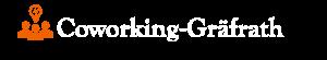 Logo mit der weißen Schrift und dem orangenen Piktogramm für Coworking-Graefrath.